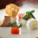 英斗 - 白身魚ワイン蒸しのフォアグラ添え