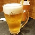 あさひ町スタンド - あさひ町セット おつまみ3点盛り+エビス生ビール650円