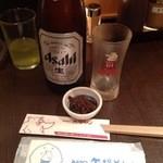 矢場とん 名古屋駅名鉄店 - ビールには肉そぼろサービス