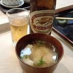 松露鮨 - 中瓶ビール+ランチの味噌汁