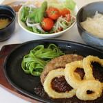 野菜レストラン ショウナン - フライオニオンハンバーグ(サラダバー、スープ、味噌汁、デザート食べ放題付)