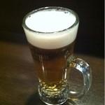 立呑み厨房 いち - 2012.11.12 17時から18時までのワンコインセットのプレミアムモルツ生ビール。通常380円