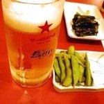 1590057 - 生ビール(¥504)とお通し(¥210)