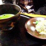 喜久月 - 「春の山」と抹茶(鳥獣戯画の茶器)光って見えにくいですゴメンナサイ