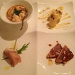 15901835 - 人参豆腐、イチジクの生ハム巻き、テリーヌ、鰹のタタキ