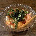 旬食和心 志 - 海鮮ユッケ丼温泉卵のせ+ビール