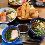 魚まさ - 料理写真:ランチ海鮮丼、魚フライ定食(汁物はそばを選択)