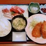 お食事処 大原 - 料理写真:刺身とアジフライセット