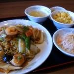 中華料理 豊楽園 - 五目あんかけ焼きそばセット