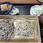 専心庵 - 大盛蕎麦セットの最初に供されるお膳 限定あら挽きと生粉