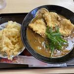 手打ちうどん 紅屋 - 料理写真:鶏天カレーうどん + 玉ネギ天
