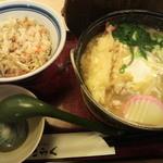 15924184 - 田舎風味噌煮込みうどん定食!(ご飯・麺大盛り)1000円ちょっと!