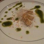 利心 - 前菜。炙ったイカをバジルのソースで。