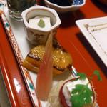 15934226 - なす生姜醤油、胡麻豆腐、山椒、プチトマトとバジルソース、柿のソテー