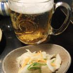 串焼きと地酒 ふかつ - お通し(アジ南蛮)