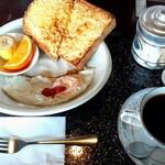 珈集 - 料理写真:珈琲とアーモンドトーストのセットで740円