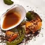 セルサルサーレ - 炭火焼の赤貝と万願寺唐辛子と蓮根
