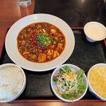 小肥羊 - 麻婆豆腐定食 1100円 + 辛さ地獄 100円 ライス・スープお替り自由