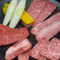快 - 和牛上物めぐり(2人前) かたまりから仕入れるカルビは、様々な味わいの部位に切り分けられます。特上・上・ゲタ・幻(カイノミ)・中とろ(ささみ)。お気に入りを見つけて下さい。