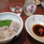 丸千葉 - 菊正宗(冷や)と、白子ポン酢。