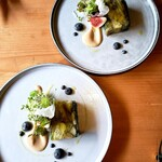 モノローグ - 蒸し茄子と焼き葱の冷製テリーヌ
