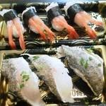 15955086 - 《持ち帰り》                       サワラの炙りの握り寿司(350円)と甘えびの握り寿司(380円)