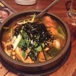 炭火焼肉 実の里 - 豆腐チゲ定食@meshilogger
