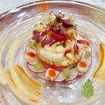 シャトー ラ・パルム・ドール - 海の幸とクスクスのクロンヌ仕立て ガスパチョ風味のヴィネグレットソース プロヴァレサルの香り