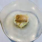 159600339 - 石垣貝と金糸瓜 枝豆のピューレと生うに