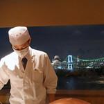 159702032 - 借景はレインボーブリッジと東京タワー