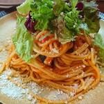 159716593 - 本日のパスタ(茄子とベーコンのトマトソース)