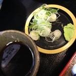 天ぷらそば ふくろう - つゆと薬味