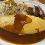赤ずきん - 料理写真:オムライスと宮崎牛の角切りステーキ