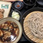 小木曽製粉所 - 料理写真:赤いのは生七味 三度楽しめるが決め手の肉つけそば 三度楽しみました