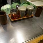 めっせ熊 - カウンター席の厨房側半分は鉄板