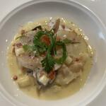 レストラン山崎 - 陸奥湾産ホタテのソテー、リンゴのシードルのソース