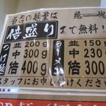 鶏魂 - 麺の量の説明