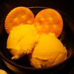 ラマイ - 「本日のデザート\280」カボチャのアイス リッツ添え
