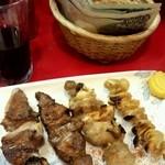 もつ焼き ようちゃん - 上タン、ハラミ、パイプ、鶏皮