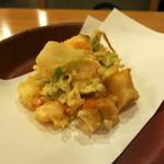 打心蕎庵 - 巻海老と貝柱のかき揚げ