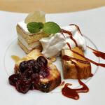 ランドアンドイアーズ - おかわり@@無花果のクランブルケーキ、洋梨コンポートのショートケーキ、パンプキンチーズケーキ