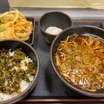 ゆで太郎 - 朝定食B390円。かき揚げ100円。