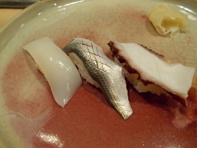 柳鮨 - イカ、小肌、蛸の握り