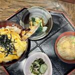 會水庵 - 焼穴子玉子ふはふは丼、酢の物、小鉢、味噌汁