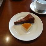 ラ・クローチェ - new ランチBのドルチェ(チョコレートケーキとプリンの2種盛りでした)