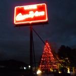 クエルナ バカ - 夜はライトアップする看板とツリー