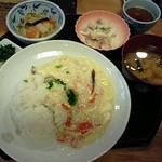 16063032 - あんかけチャーハン・白菜の炒め物・薩摩芋のヨーグルトサラダ・味噌汁(エネルギー570kcal)