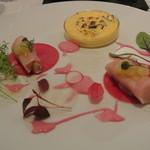 レストラン 間 - 蕪料理2種の味くらべ ~ズワイ蟹のブリュレと鰆のカネロニし立て~