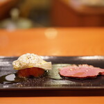 日本料理 たかむら - アメーラトマトとブッラータチーズ 特製鴨ハム