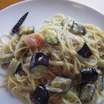 イタリアンレストランバーココロ - ナスと明太子のペペロンチーノ